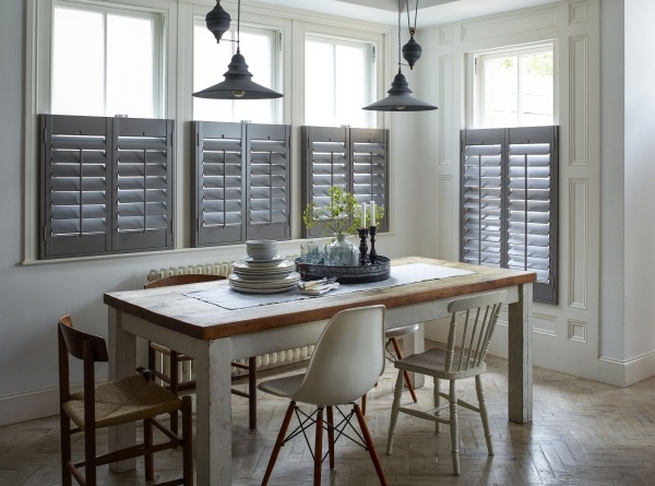 Cafe style grey shutters in modern kitchen
