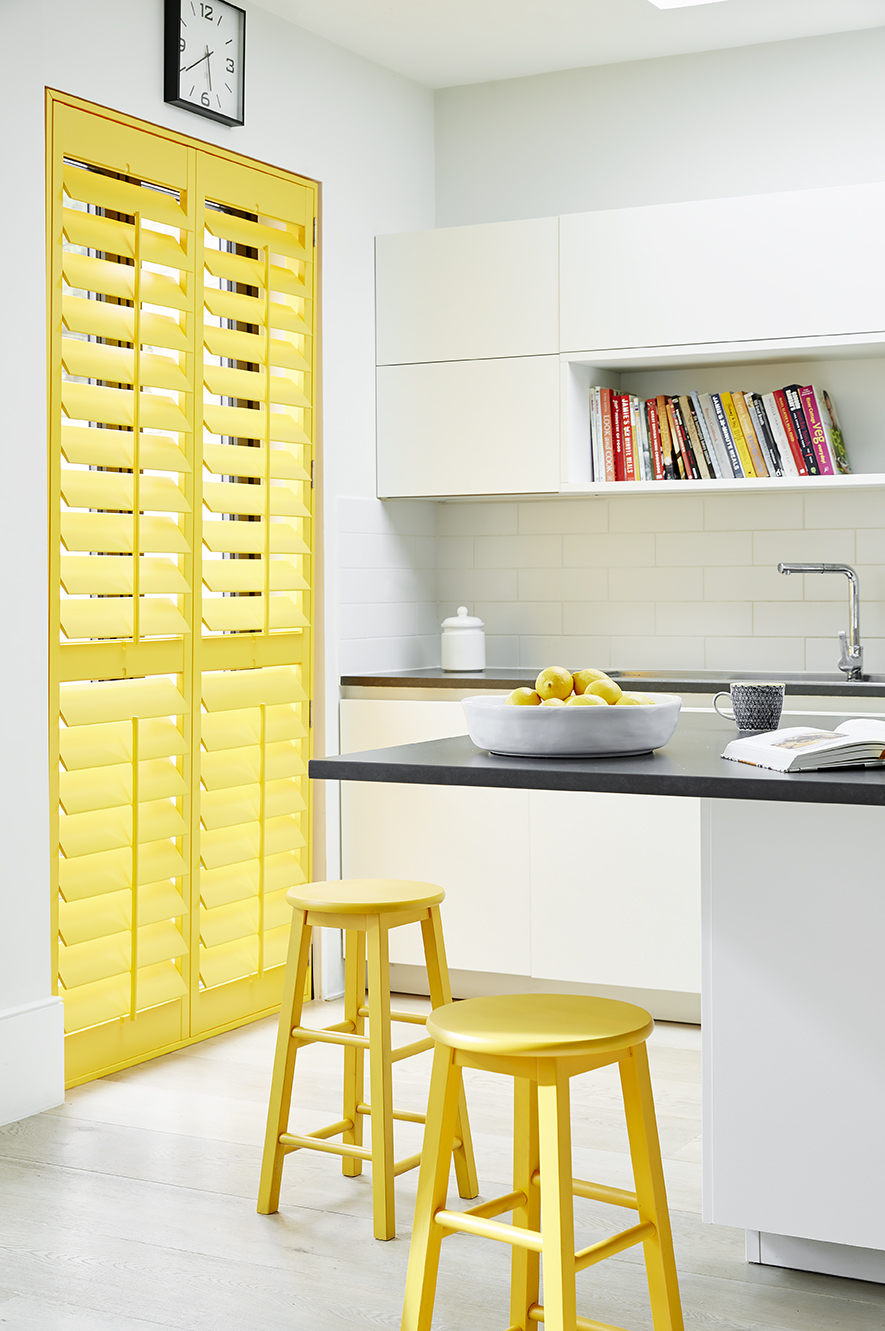 Sunburst yellow kitchen shutters
