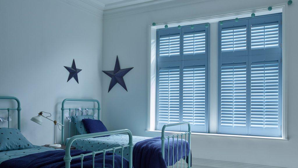Blue Custom Colours Shutters for Wooden Windows by Shutterly Fabulous