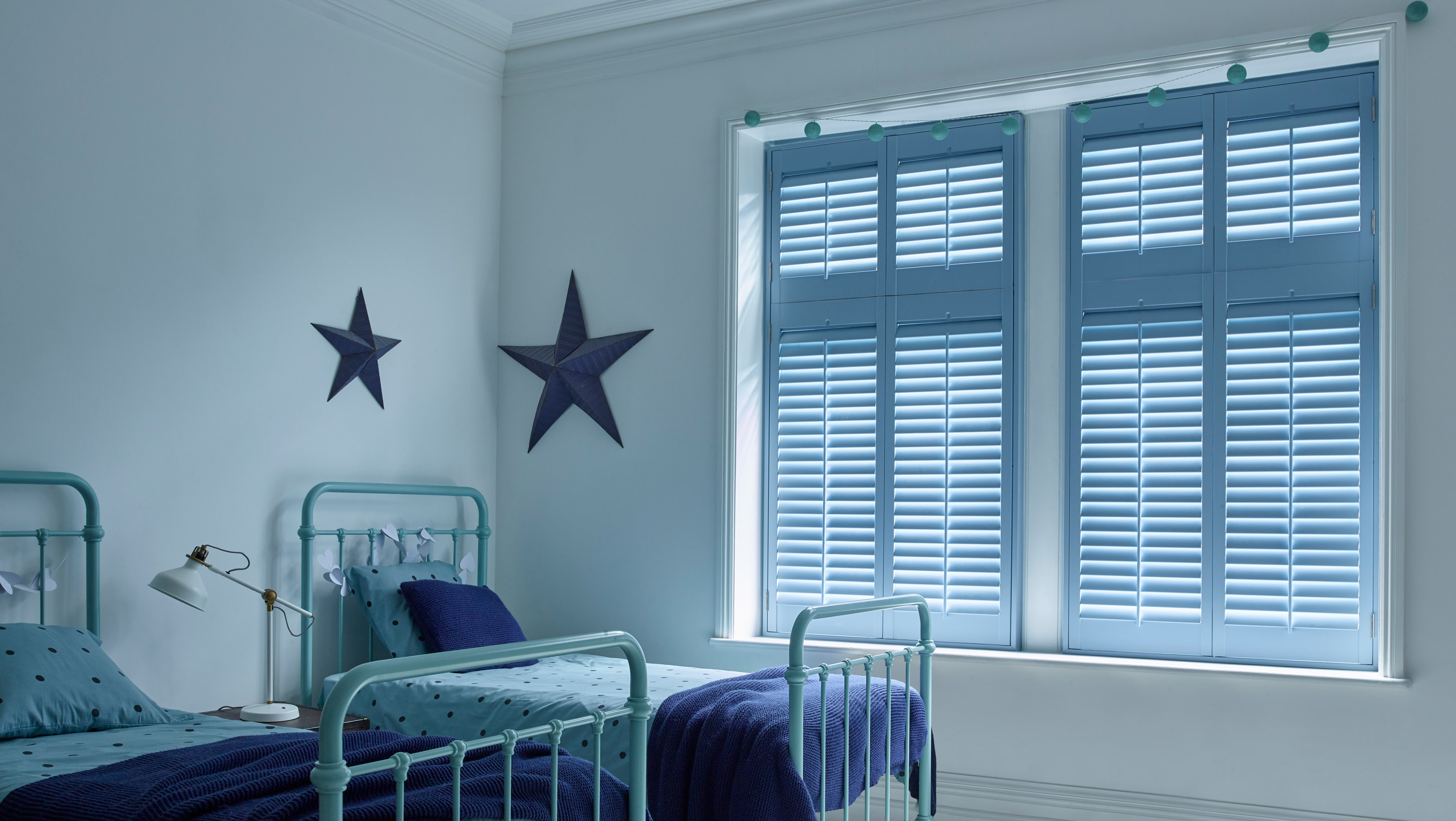 Blue Custom Colours Shutters for Wooden Windows by Shutterly Fabulous