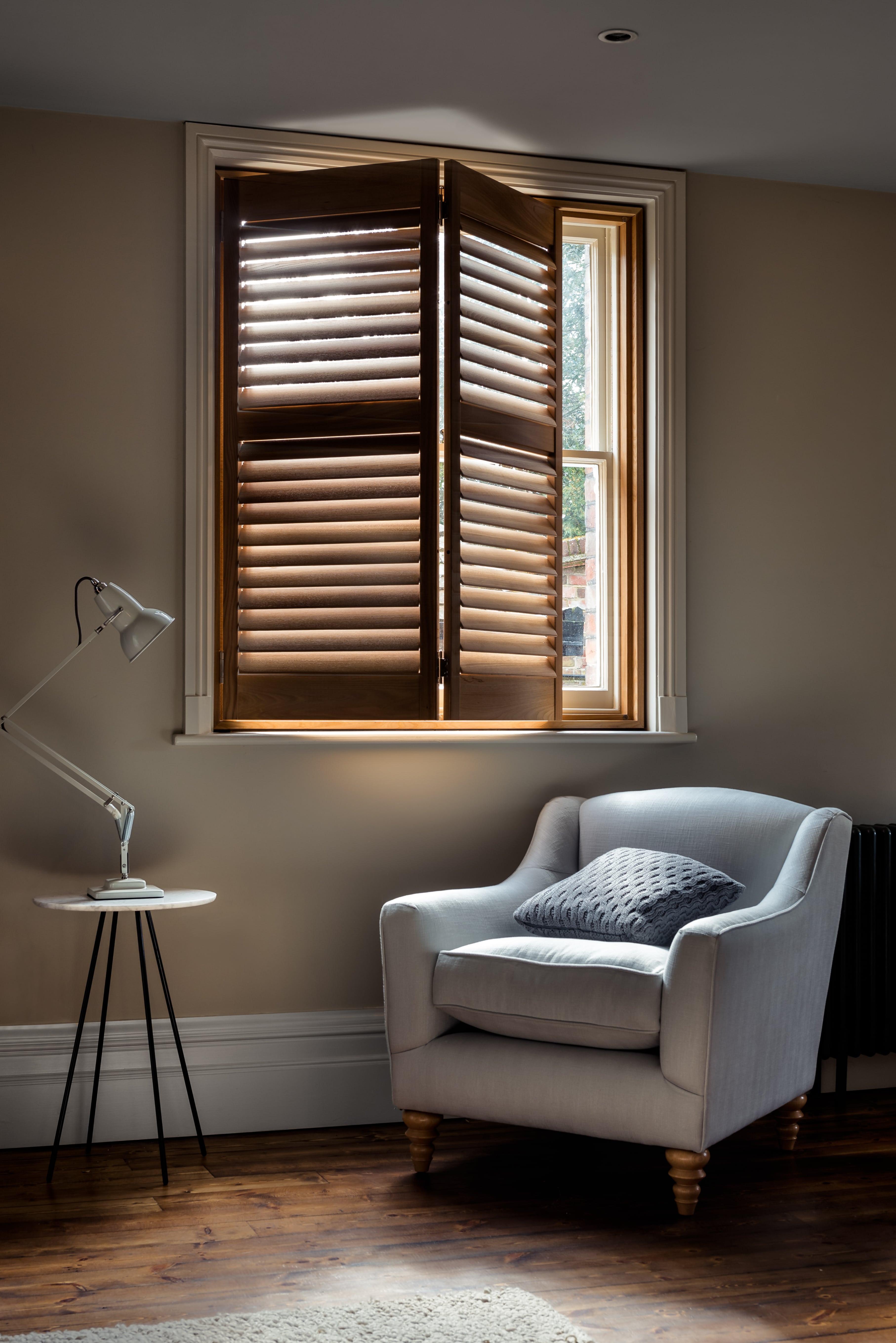 Rustic wood stain shutters by Shutterly Fabulous