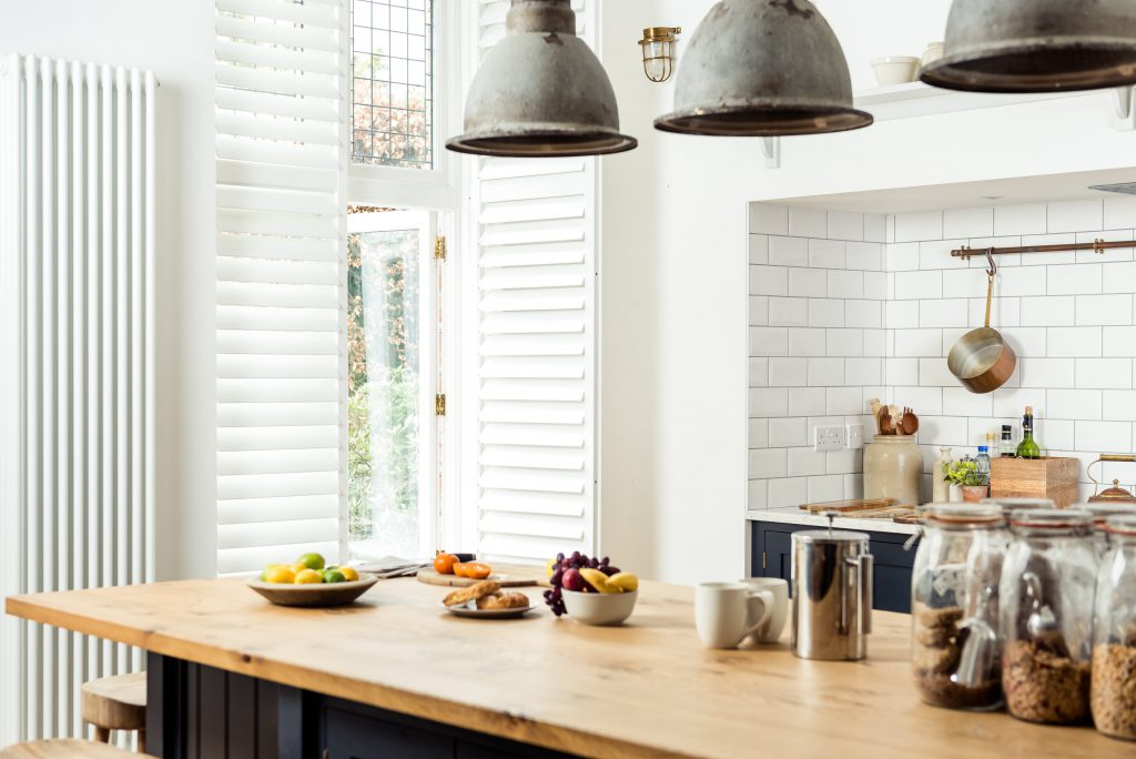 White full height kitchen shutters