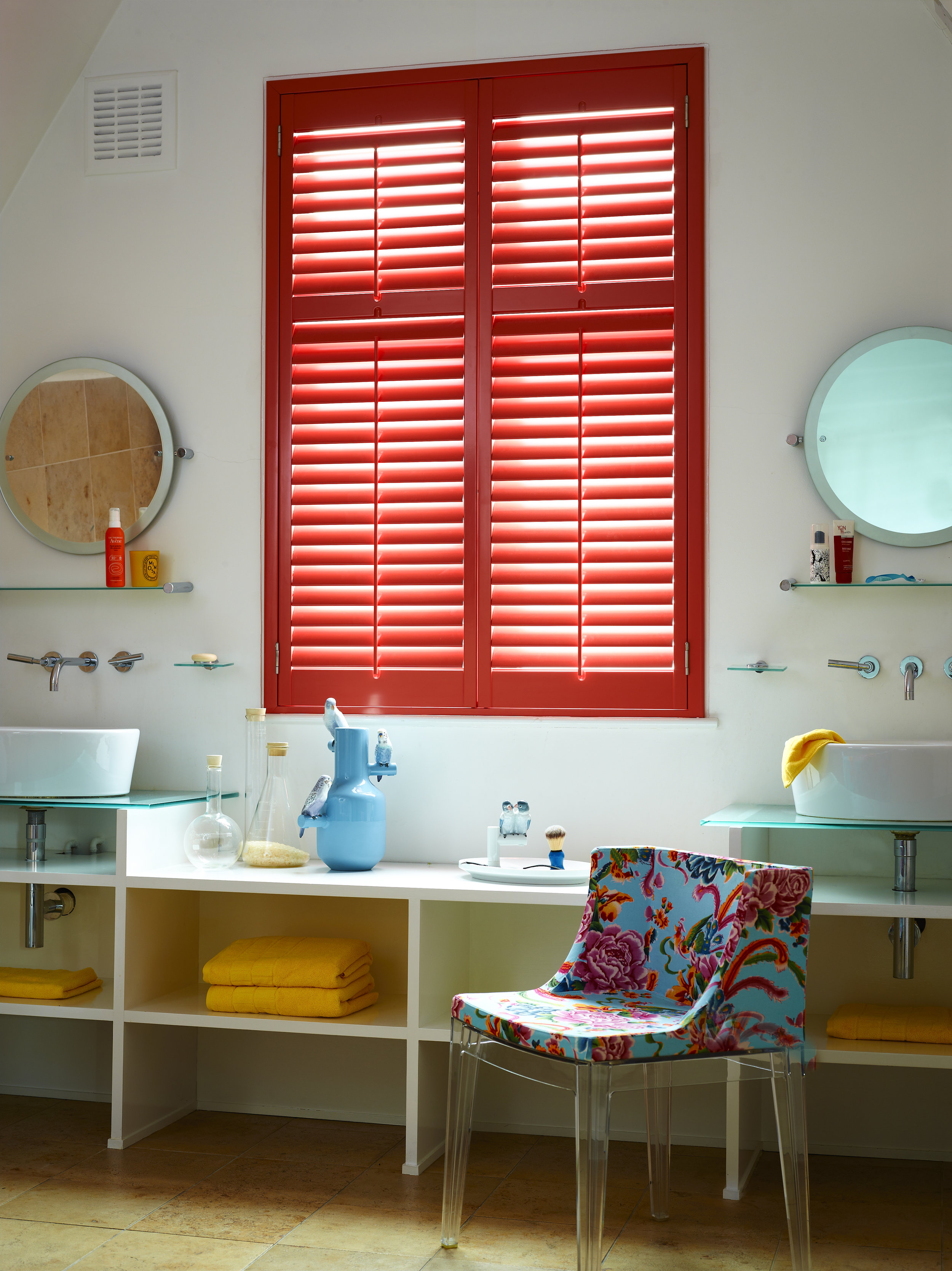 coral shutters in bathroom by shutterly fabulous
