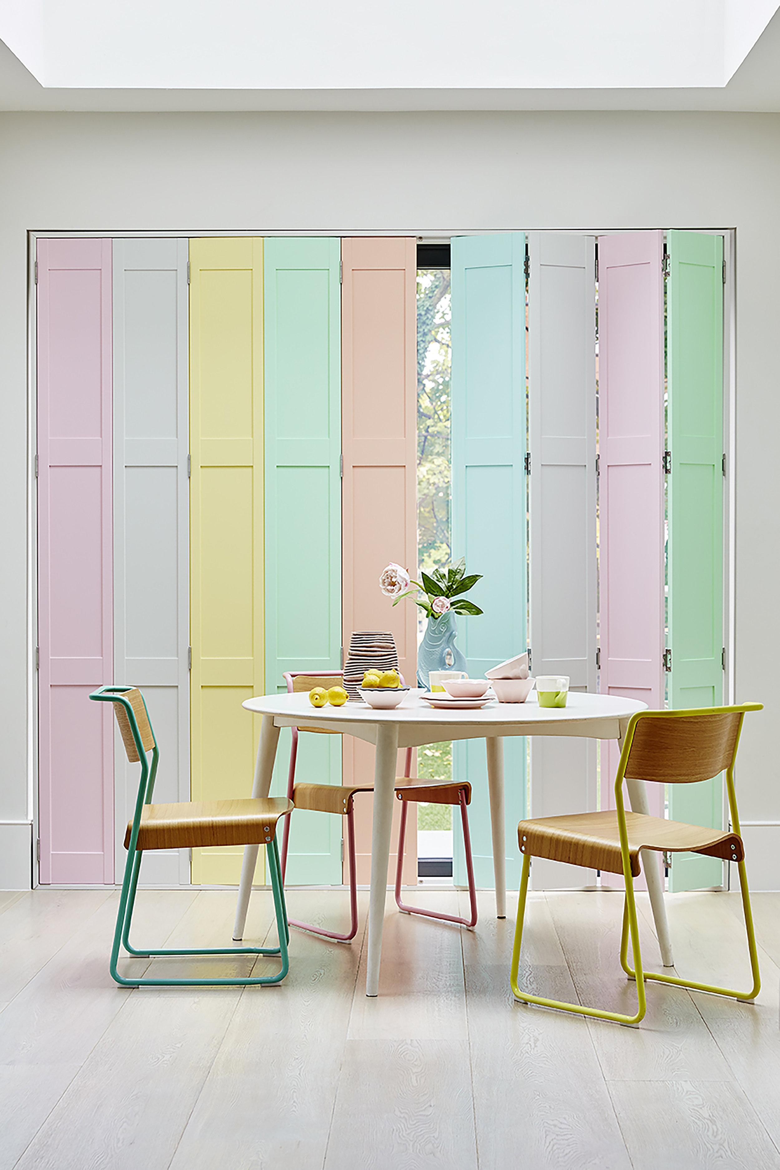 Custom multi-tone full solid shutters in a modern kitchen
