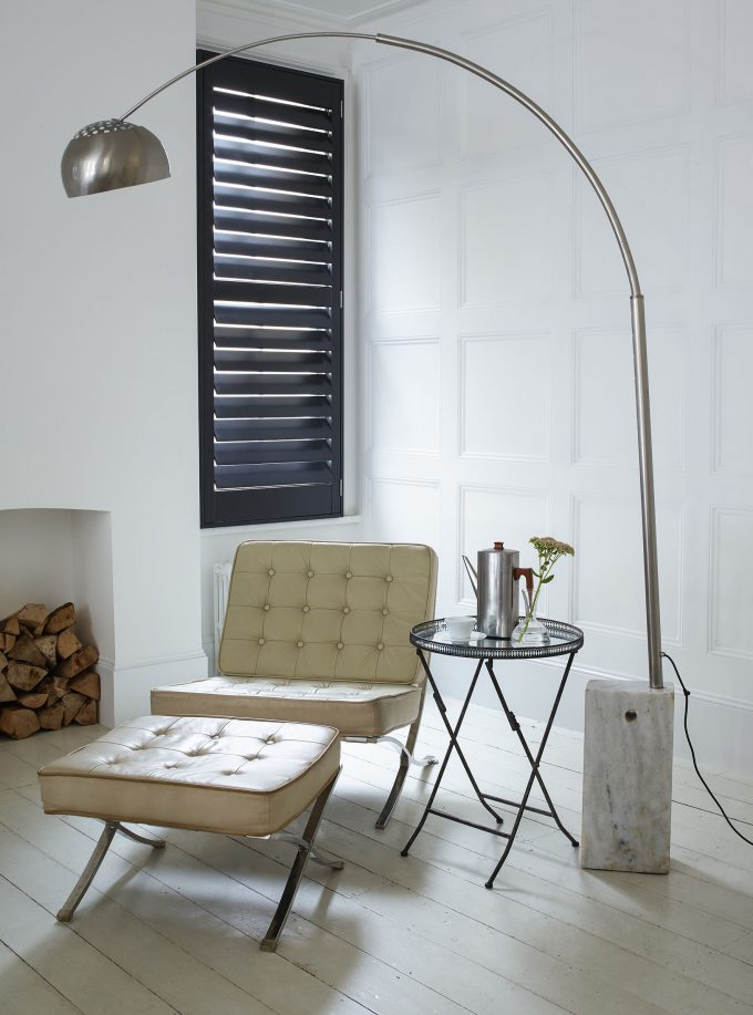 Dusky grey corner shutter