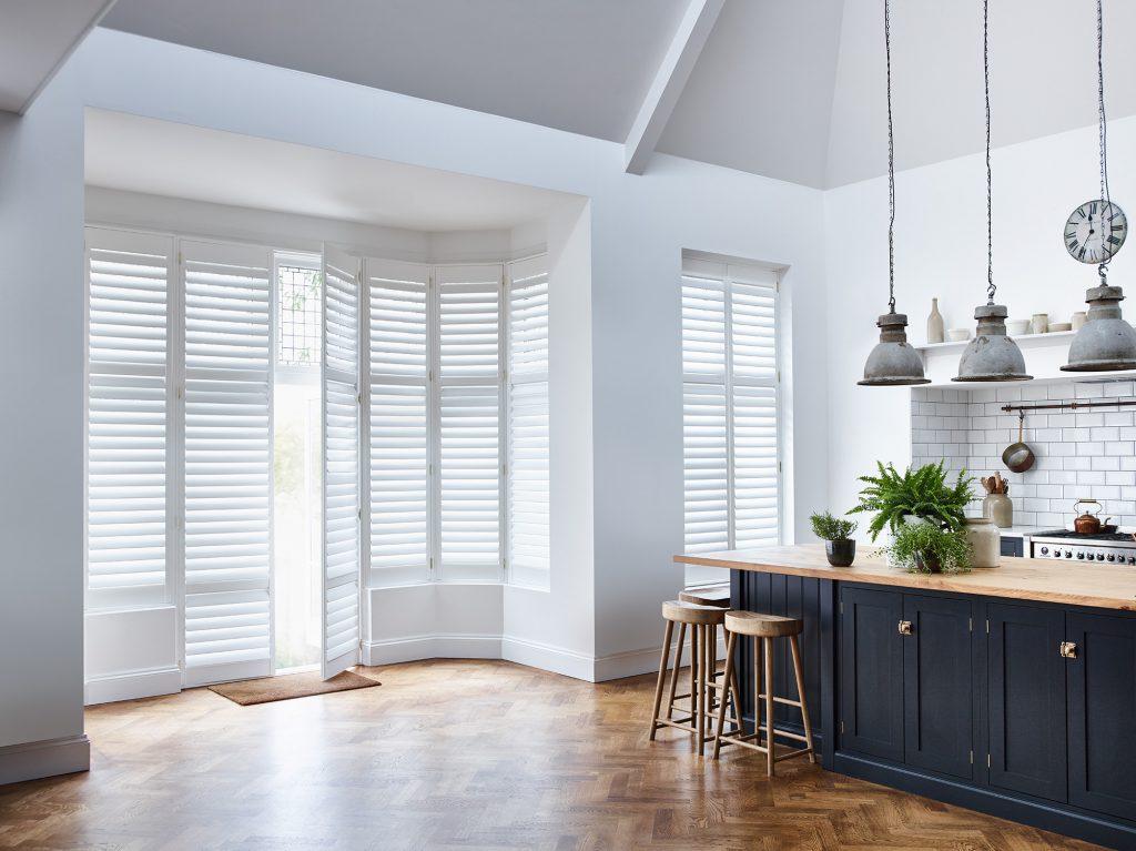 White Full height Shutters for kitchen by Shutterly Fabulous
