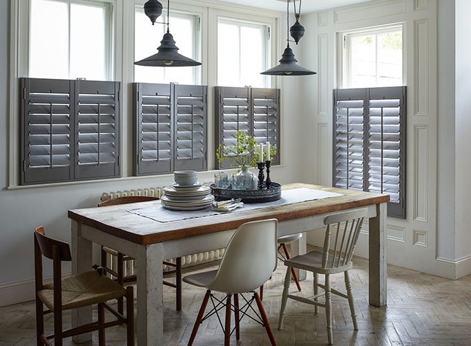 Cafe style shutters in a kitchen