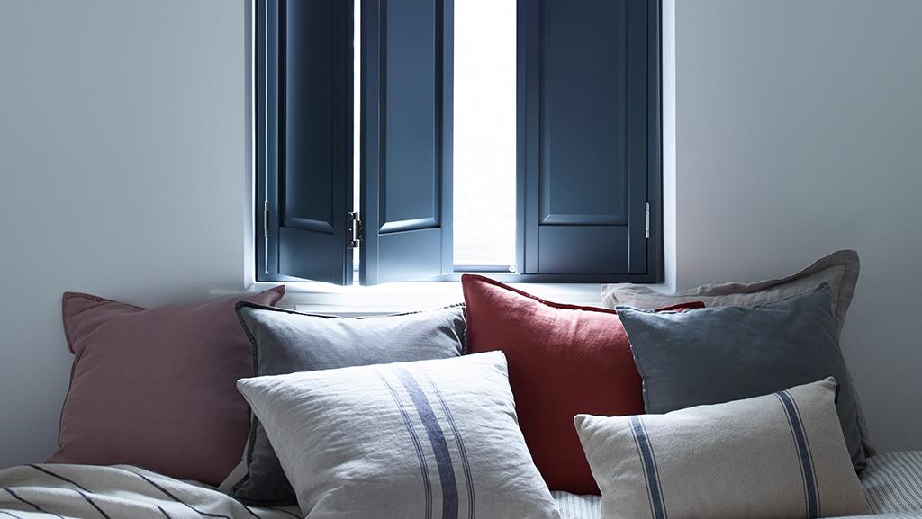 Dark blue solid panel shutters