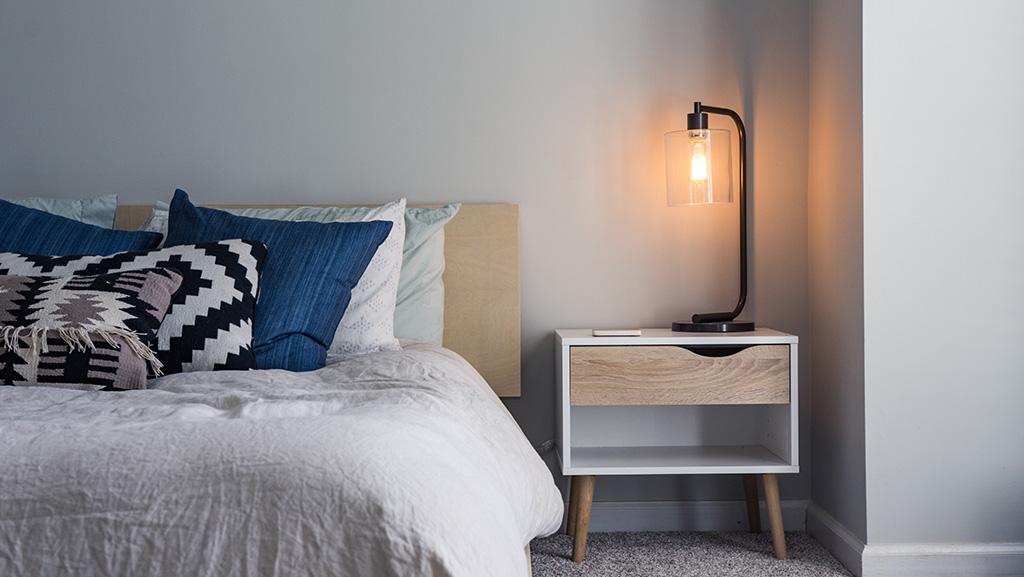 Lamp in hygge bedroom