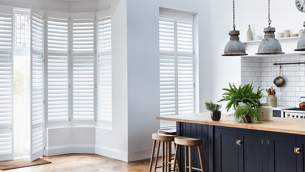 White bay kitchen shutters