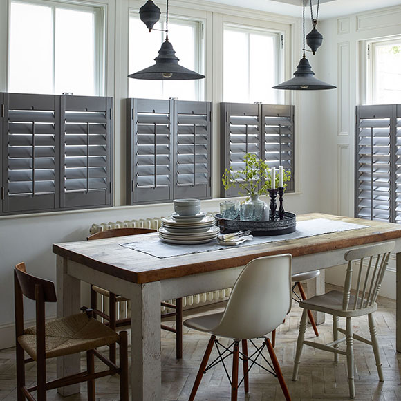 Grey cafe style shutters in kitchen by Shutterly Fabulous
