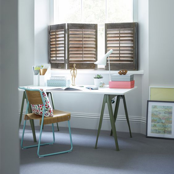 Custom cafe style shutters in office by Shutterly Fabulous