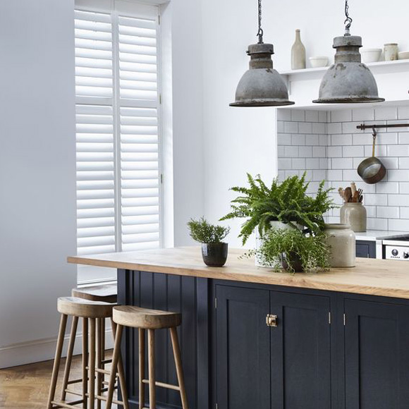 Full height shutters in kitchen by Shutterly Fabulous
