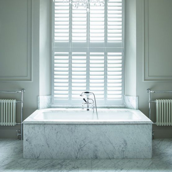 Neutral bathroom shutters by Shutterly Fabulous