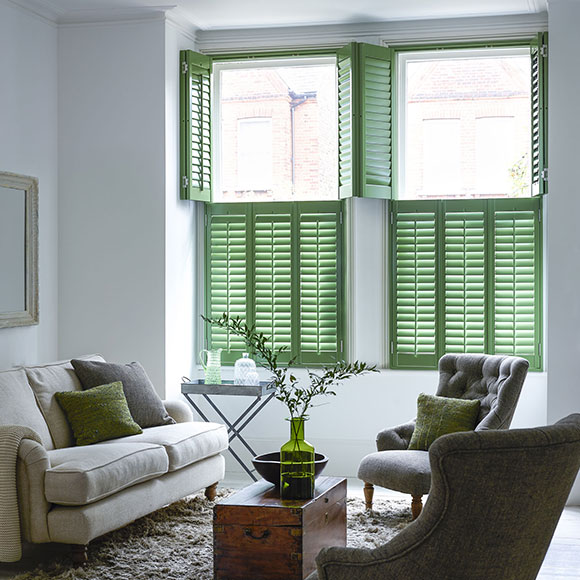 pea green tier on tier shutters by Shutterly Fabulous