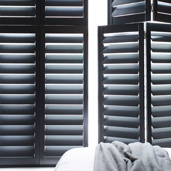 Custom colours tier on tier shutters by Shutterly Fabulous