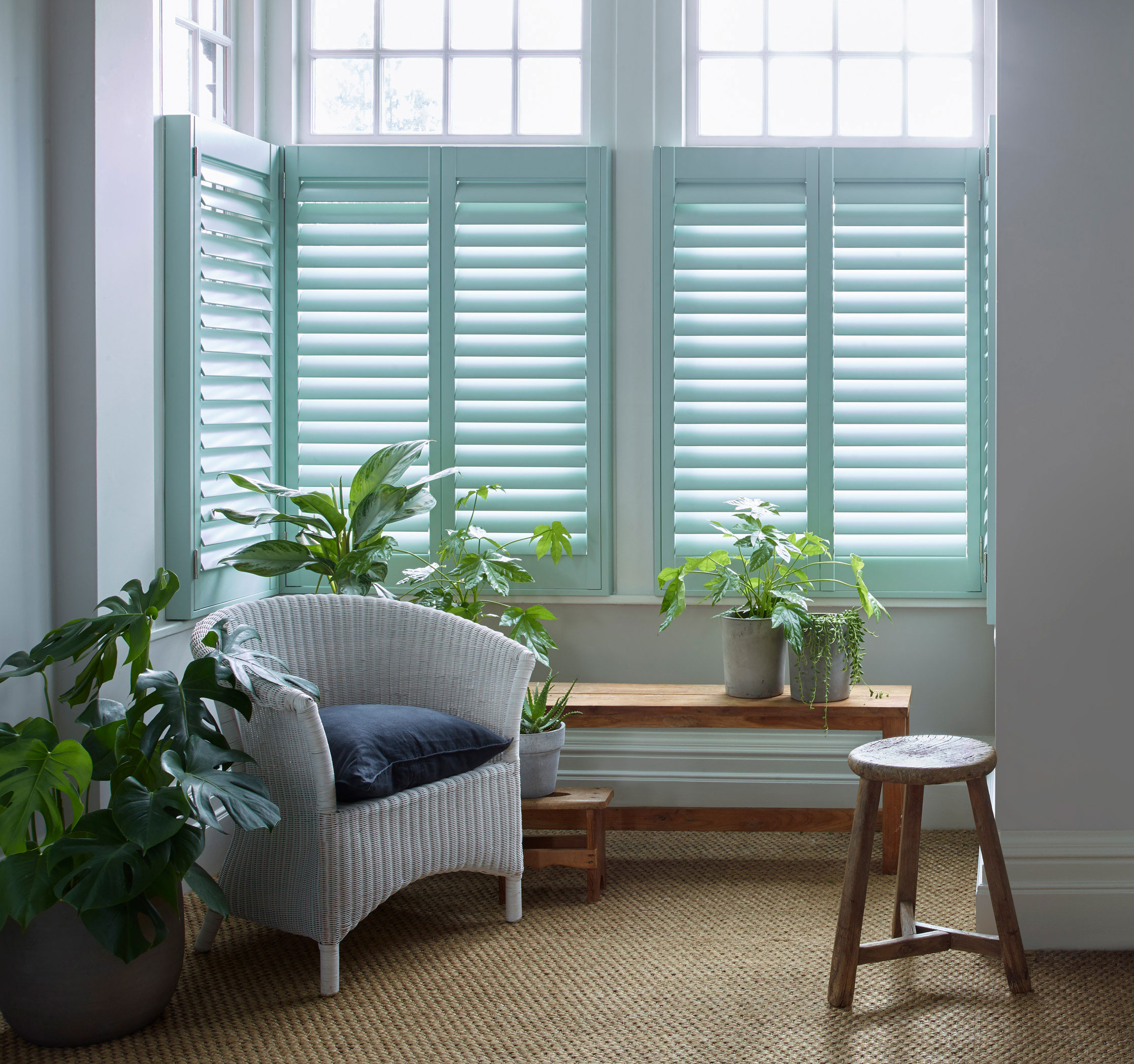 living room cafe style shutters teal colour