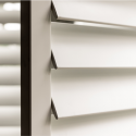 close up of white shutter slats