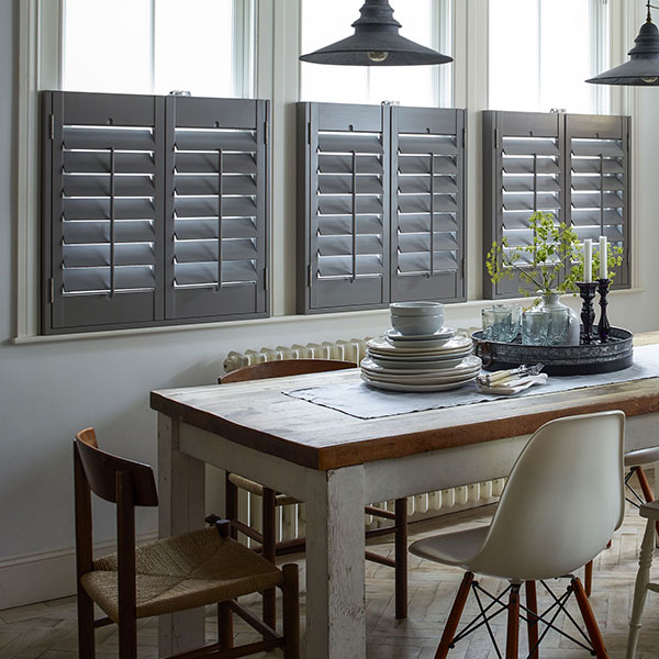 cafe style shutters in grey with modern kitchen design